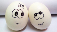 Dating Upside Down - Post - Don't Mess With My Eggs - Feature Image - Two eggs with male_female face drawn on each